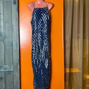 ASOS Blue Sequined Gown Size 8 NWT